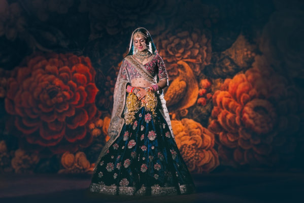 Indian bridal portrait on floral background or band baaja bride show