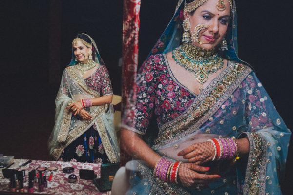 Sabyasachi bride posing for band baaja bride show in NDTV