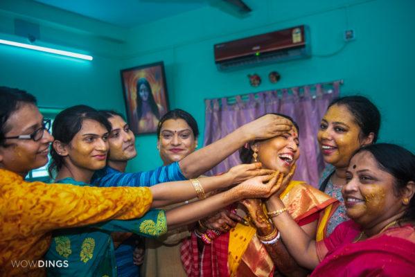 transgender bride with friends