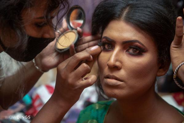 transgender bride in her make-up session