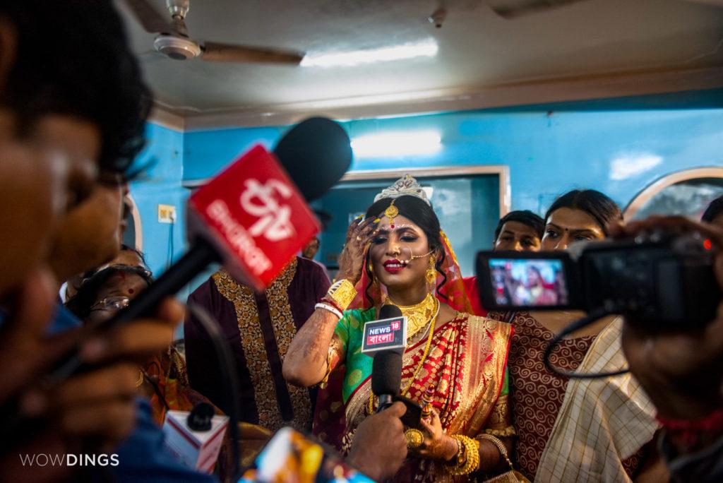The transgender bride Tista facing news channels at her home in kolkata