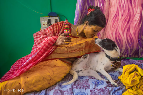 transgender bride with her dog