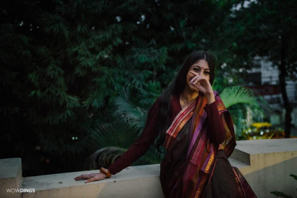 girl in a saree on the roof